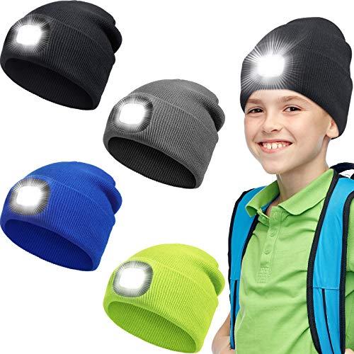 4 Pezzi Berretti LED con Luce per Bambini Cappelli a Maglia LED Ricaricabili USB Cappelli Torcia Caldi Invernali per Escursionismo, Ciclismo, Campeggio Notturno, Sport all'Aria Aperta