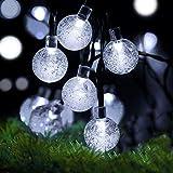 Cshare LED ソーラー ストリングライト LED イルミネーションライト 50電球 7M IP65防水 キャンプ用 ガーランドライト 8モード 夜間自動点灯 クリスマス/ハロウィン/パーティー/バレンタインデー/新年/祝日/結婚式/学園祭屋外/室外/室内/庭対応 ソーラーパネル 装飾ライト カラー: クールホワイト