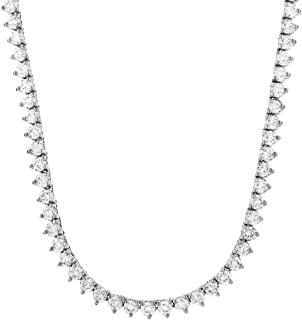 Men's 1 Row Silver Finish Lab Created Diamonds 4MM Thick 3 Prong Stone Tennis Necklace Chain 16-26 Inches