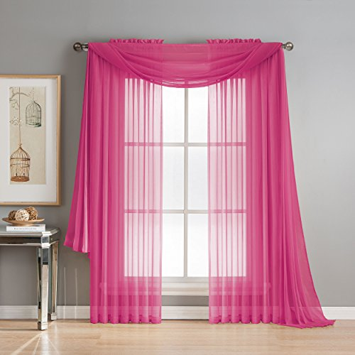 Window Elements Diamond Sheer Voile 56 x 216 in. Curtain Scarf, Hot Pink