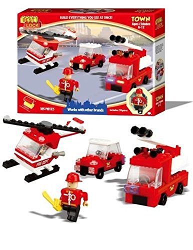 Best-Lock Fire Fighters Set, 193 pieces, with 1 Helicopter, 2 trucks, 3 Figures and Accessories