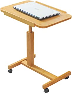 AINIYF C Shaped Rolling Laptop Computer Desk Portable Adjustable Height and Foldable Solid Wood Table (Size : 70x50cm)