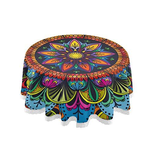 Rulyy Mantel de mandala, redondo, diseno de flores indias, a prueba de aceite, elegante, moderno, de granja, para mesa de comedor circular, 152 x 152 cm