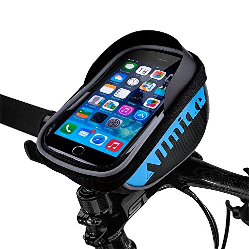 Allnice U Type Design 5.5'' Waterproof Toucscreen Mountain Bike Road Bicycle Cycling Front Frame Bag Tube Pannier Saddle Bag Fit iPhone 6 Plus/iPhone 6 / Galaxy Note2 / Galaxy S5 etc (Blue)
