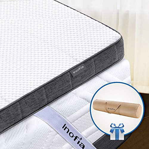 Inofia Topper 90x200 Gelschaum Matratzenauflage Matratzentopper Memory Foam Topper 7,5cm|2 Layer RG50 Gelschaum+ Support Foam|waschbar Bezug|100 Nächte Probeschlafen|10 Jahre Garantie(90 x 200 cm)