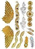 Oh My Shop TYS52 - Tavola tatuaggio temporaneo Body Art, ali e piume etnici, colore: Argento/Oro