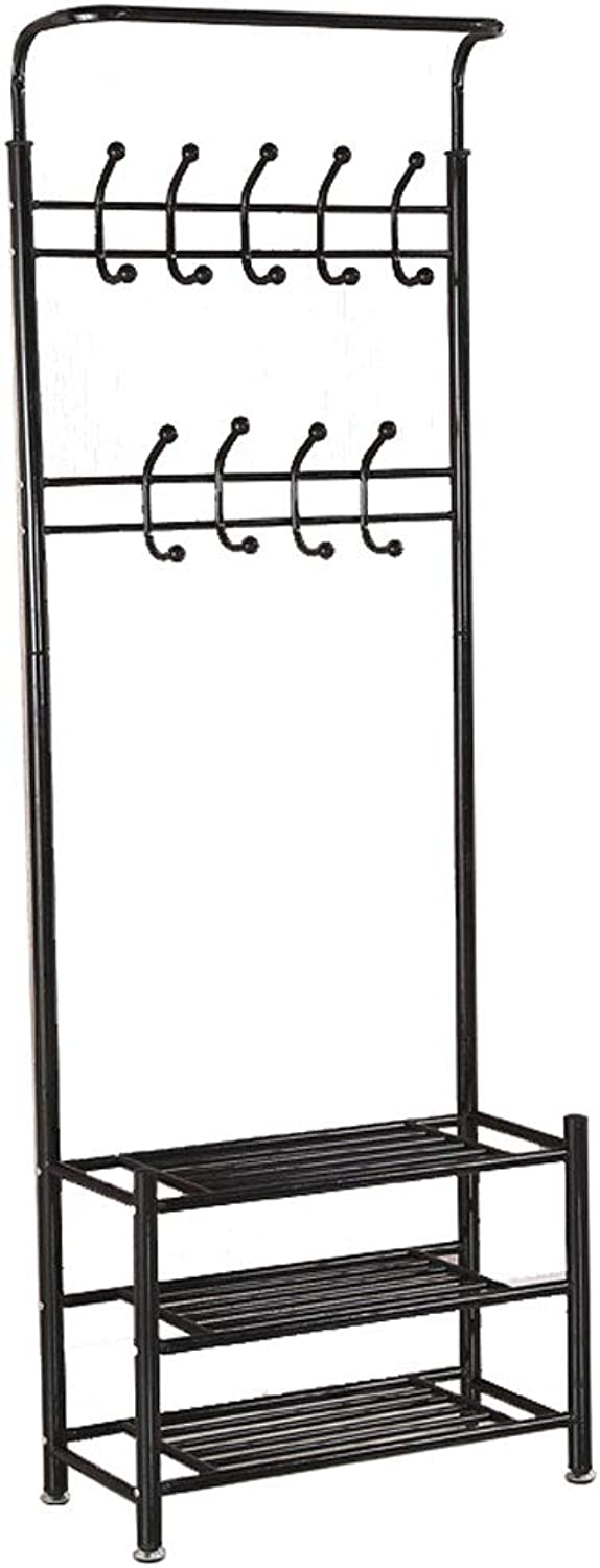 Metal Multi-Purpose Clothes Coat Stand shoes Rack Hat Umbrella Bag Stand with 18 Hangers Entryway Organiser