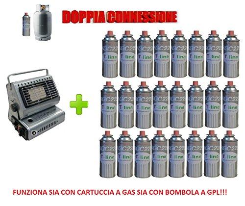 ALTIGASI Prime gaskachel met elektrische gasbrander en 24 cartridges.