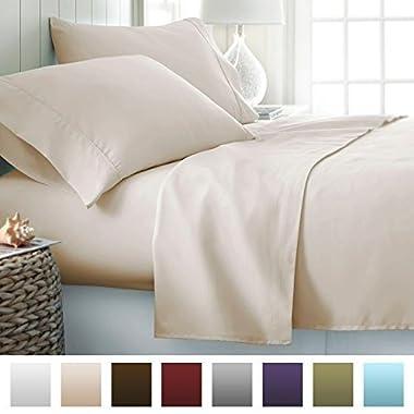 Beckham Hotel Collection 1500 Series Luxury Soft Brushed Microfiber Bed Sheet Set Deep Pocket - King - Eggshell Cream