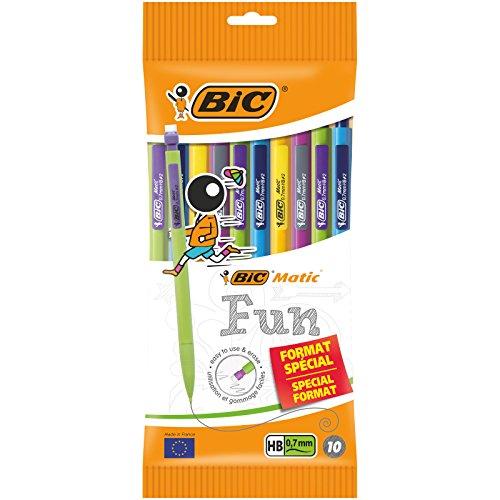 BIC Matic Fun - Portaminas de 0,7 mm HB con goma (perfecto para la Ecole), colores surtidos, funda especial de 10