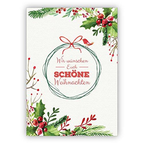 1 fraaie geschilderde kerstkaart met bessen, vogels en kerstkrans: wij wensen je mooie kerstmis • als liefdevolle kerstpost voor de overgang van het jaar voor familie en bedrijf