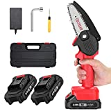 APROTII Mini Chainsaw with 2 Battery, 4-Inch Cordless Electric Pruning Shears Chain Saw One-Handed Portable Chainsaw for Branch Wood Cutting Tree Logging Trimming