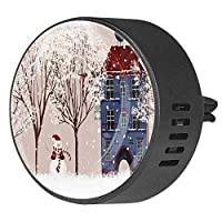 2pcsアロマセラピーディフューザーカーエッセンシャルオイルディフューザーベントクリップ冬の雪だるまビルディングツリー漫画