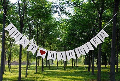 """witgift Vintage Garland Hochzeits-Wimpelkette Rustikal Kraftpappe """"Just Married Foto-Requisit Hochzeit Wimpel Fahne Karton hochzeitsdeko (Weiß)"""