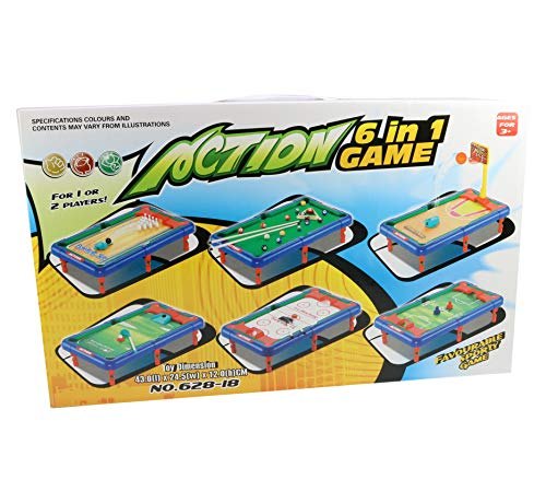 6 in 1 Sports Table Games for Kids - Mini Tabletop Pool, Hockey, Ice Hockey, Basketball, Golf, and Bowling - Great for Teaching Kids - Mini Sports Games with Accessories