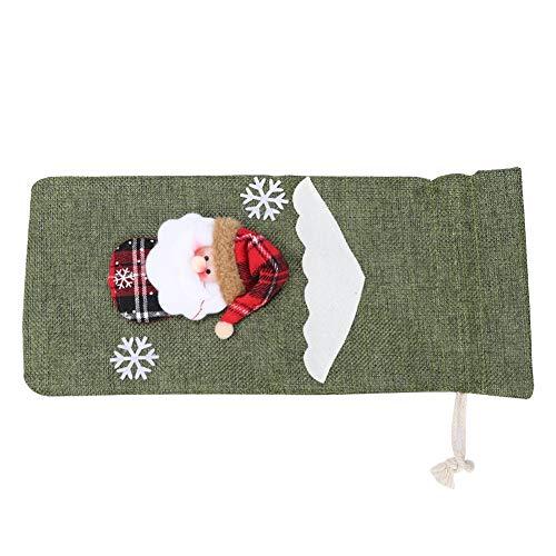 Bolso con cordón de Navidad, lindo bolso con cordón de decoración de botella de vino tinto Suministros de decoración del hogar de Navidad(verde)