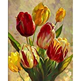 Realover DIY Full Drill Diamond Painting,Hibiscus Flowers Gift Mosaic Set Home Wall Decoration Crafts Supply(Square 40×50cm)