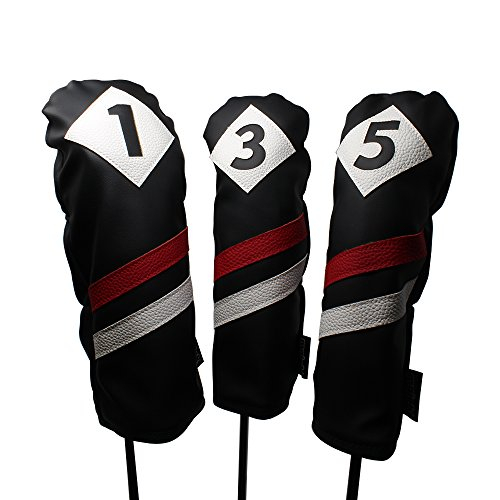 Majek Retro Golf Headcovers Black Red and White Vintage Leather Style 1 3 5 Driver and Fairway Head Covers Fits 460cc Drivers Classic Look