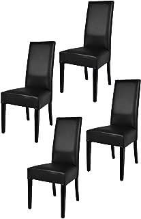 Tommychairs sillas de design - Set de 4 sillas LUISA para cocina, bar y restaurante, con estructura en Madera de haya y asiento tapizado en polipiel negro