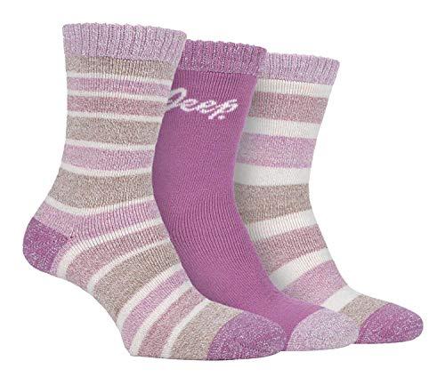 JEEP - 3 Pares Mujer Calcetines con Rayas | Calcetines para Deporte Trekking Senderismo Montaña (37-42, Rosa/crema/punzón)