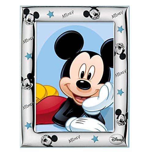 Disney Baby - Cadre photo à poser Mickey Mouse - en argent - pour table de nuit/chambre d'enfant - cadeau de baptême/anniversaire - motif Mickey Mouse