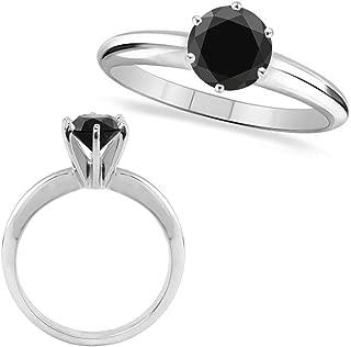 1.25 Carat Natural Real Black Diamond Engagement Wedding Promise Solitaire Bridal Ring 14k White Gold