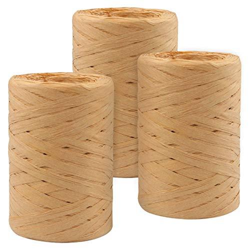 Cinta de Papel Raffia 3 Rollos Cuerda de Papel Natural Kraft Cinta Rafia,Cordel de Papel para la Decoración de Tejido Artesanal de Bricolaje
