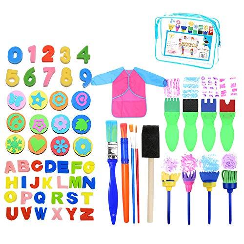 Juego de 62 pinceles de pintura de esponja para niños con forma de pinceles de pintura, sellos de espuma, delantal impermeable almacenado en una bolsa con cremallera para niños pequeños