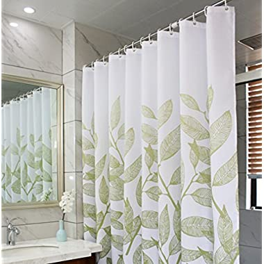 Eforcurtain Home Fashion Green Leaves Shower Curtain Fabric Water Proof Mildew Resistant, Durable Shower Curtain Liner with Thick Free Hooks, Small Size 36 Inch Wide by 72 Inch Long, White