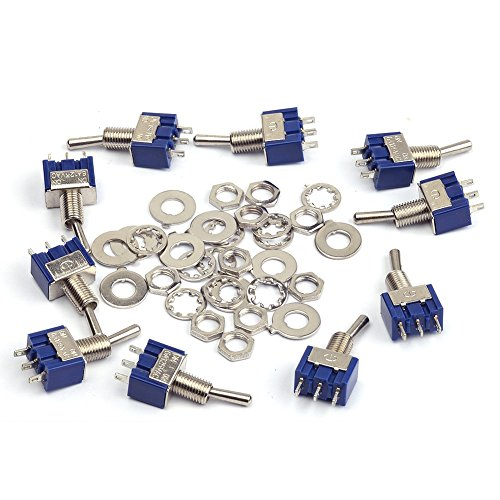 Cylewet 10Pcs MTS102 AC 125V 6A On/On 3 Pins 2 Positions Mini Toggle Switch Single Connection for Arduino (Pack of 10) CYT1015