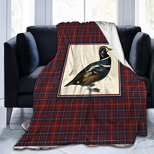 Guduss Vintage Harlequin Duck with Plaid Square Throw Blanket Soft Flannel Fleece Blanket for Couch,Bed,Sofa,Chair Office,Travel,Camping,Modern Decorative Warm Blanket80*60