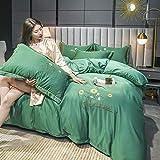 juegos de sábanas de 80,Muelle y verano lavado de agua seda rosa juego de doble cara hoja de cama desnuda botín de funda de almohada Suministros de cama Día de la madre Regalo-B_1,8 m de cama (4 piez