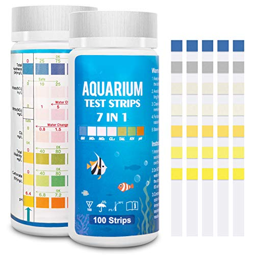 FUNSW 7-in-1-Aquarium-Teststreifen, Süßwasser-Master-Set, Wassertest-Set für Teich und Aquarium, Nitrit, allgemeine Härte, freies Chlor, pH-Wert, Karbonat, 100 Stück