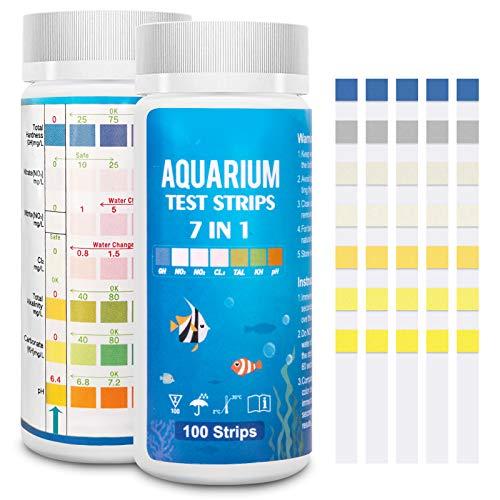 Strisce reattive per acquari 7 in 1, kit per test per acquari, kit per test per acquari d'acqua dolce con acqua salata per pH, nitriti, nitrati, durezza, cloro, carbonato, alcalinità -100 strisce