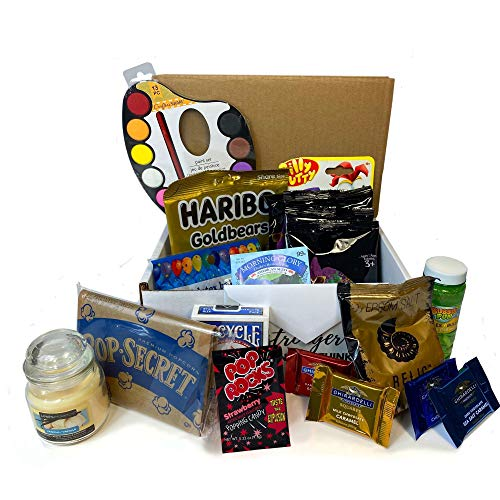Social Distancing Survival Kit, Includes Goodies, Games, Activities for Kids, Self Care Items, Party Supplies, and More, Beyond a Snack Box, Gift Pack for Family or Friends