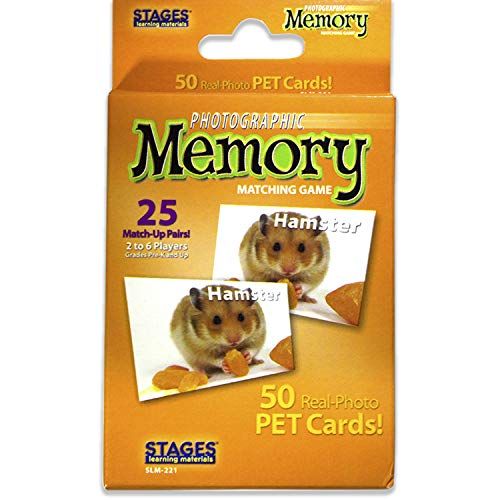 Stages Learning Materials Picture Memory Pets Card Game Real Photo Concentration Game for Home Family Preschool Kindergarten amp Elementary Education