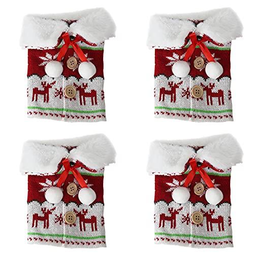 ANDEZX 4 fundas de botella de vino de Navidad, reutilizables, de lana de punto con patrón de alce, vestido de botella de vino para mesa de Navidad, hogar, decoraciones de fiesta