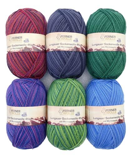 Paquete de 6 ovillos de lana merino de 100 g para calcetines 2021 #2, 600 g de lana para calcetines sin mulesing