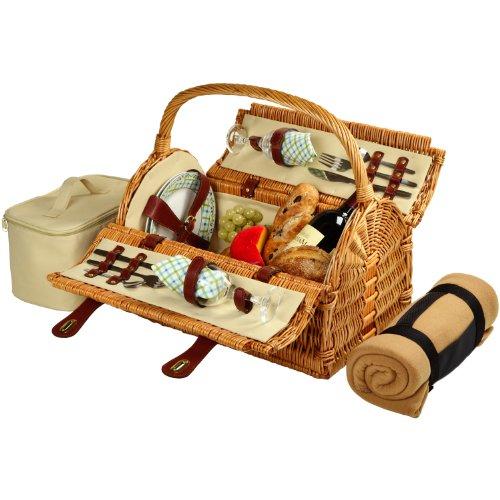 Picknick at Ascot Sussex Weiden-Picknickkorb mit Service für 2 Personen mit Decke, London Plaid 2 Person Weide/Pavillon