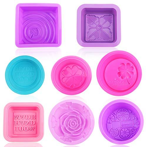 Pwsap 8 Stück Silikonform Seifenform, Silikon Seife Formen Quadrat, Rosenform, Oval und Rund, seife Hand Made, für Kuchen, Wackelpudding, Schokolade, Eiswürfel, Desserts, Kerzen, BPA frei