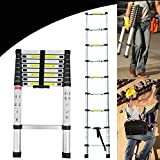 8.5Ft 2.6M Extendable Alminium Ladder Telescopic Folding Extending Portable 9 Steps Loft Extension Ladder DIY Multi Purpose, 330lbs Load Capacity, EN131 Certified