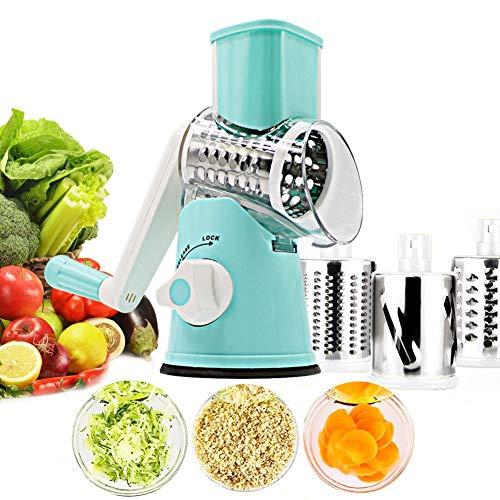 K.LSX Mandolinen-Schneider - Obst- und Gemüseschneider und Reibe mit 3 Edelstahl-Rollklingen, starker Saugkraft, für Kartoffeln, Tomaten, Gurken, Karotte, blau