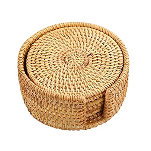 VOSAREA 6pcs Rund Getränkeuntersetzer Holz Bambus Glasuntersetzer Handgefertigt Geflochtene Untersetzer