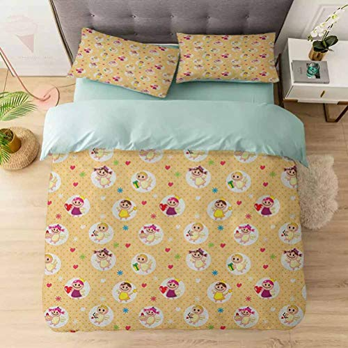 Duvet Cover Set, Childhood Baby Nursery Kids Motherly Love Playroom Toddler Polka Dots Gr, 1 Duvet Cover with 2 Pillowcases-Hypoallergenic, Easy Care, Soft and Durable, Pale Yellow White