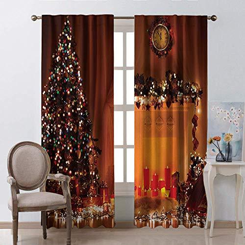 Hengel gordijn voor woonkamer, Kerstmis Magische New Years Eve Boom Branch Border met Berry Linten Gingerbread Man Rod Pocket Window Gordijnen