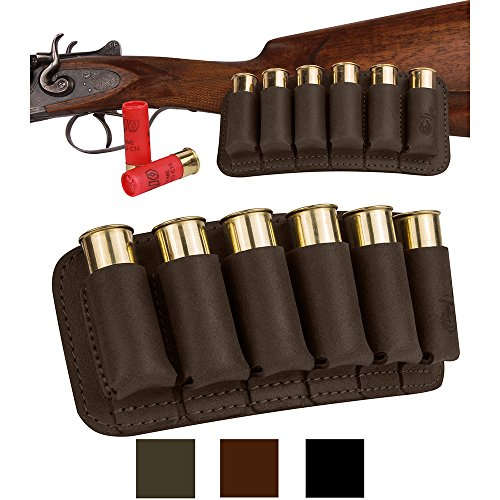 BRONZEDOG Shell Holder Shotgun Ammo Pouch 12 16 Gauge Genuine Leather Bullet Wallet Cartridge Bag Ammunition Carrier Hunting Accessories (Brown)