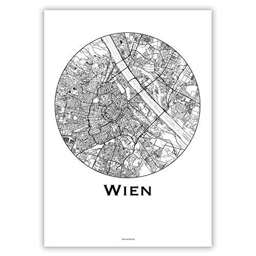 Plakat Wien Österreich Minimalist Map - Poster, City Map, Dekoration, Geschenk