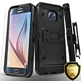 Galaxy S6 Case, with [Tempered Glass Screen Protector] [Not Fit S6 Edge], Full Cover Heavy Duty Dual Layers Phone Cover with Kickstand and Locking Belt Clip for Samsung Galaxy S6-Black