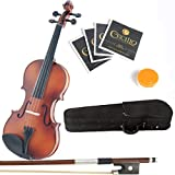 Mendini 1/16 MV300 Solid Wood Satin Antique Violin with Hard Case, 2-Bows, Rosin and Extra Strings