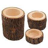 Almabner Kerzenhalter 3 Stück Home Decor handgefertigtes Holz Teelicht Tischkerzenhalter Ornament Party, Holz, Free Size